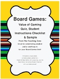 Board Game Quiz Pretest and Project Student Instructions C