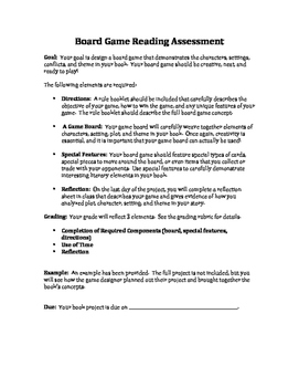 Board Game Reading Assessment for Independent Rdg or Book Clubs
