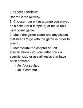 Board Game Review Activity