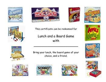 Board Game Reward Certificate