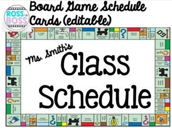 Board Game Schedule Cards (editable)