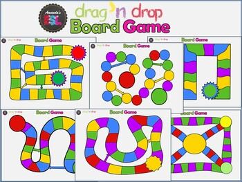 review game - interactive board game template in power point drag, Modern powerpoint