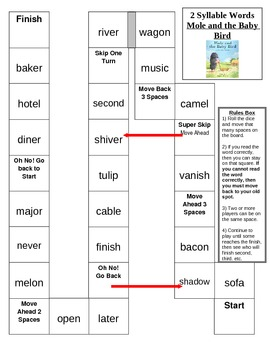 Board Game - Words with 2 syllables