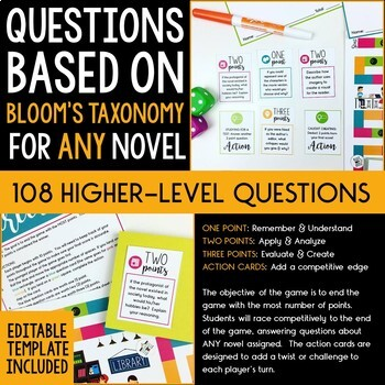 Board Game for ANY Novel: Literary Minds Upper Elementary Middle & High School