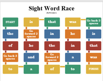 Board Game for First Sight Words
