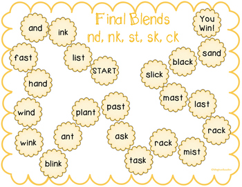 Board Game with final blends (nd, nk, st, sk, ck)