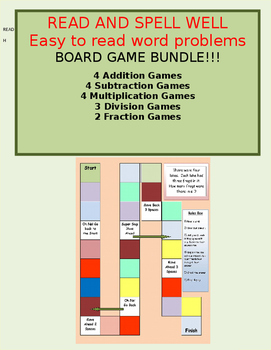 Board Games  Addtion, Subtraction, Mulitplcation and Division  Easy to read