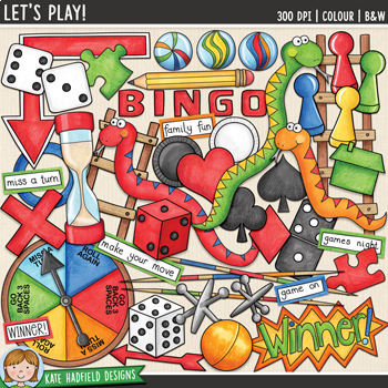 """Board Games Clip Art: """"Let's Play!"""""""