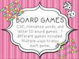 Board Games - Letter ID, CVC, and Non-sense Words