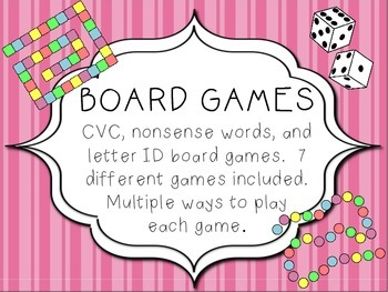 Board Games - Letter ID, CVC, and Non-sense Words