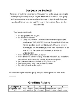 Board Games Project Rubric