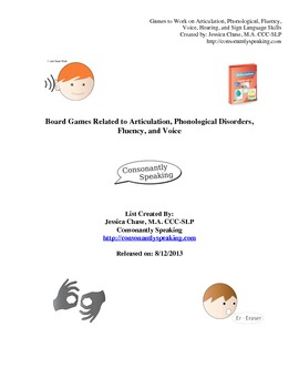 Board Games Related to Articulation, Phonological Disorders, Fluency, and Voice