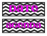 Board Labels- Chevron with Pink Font