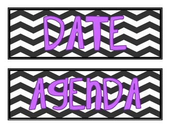 Board Labels- Chevron with Purple Font