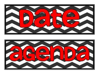 Board Labels- Chevron with Red Font