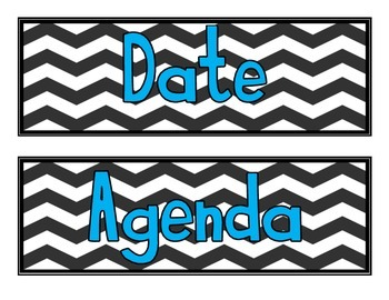Board Labels- Chevron with Teal Font