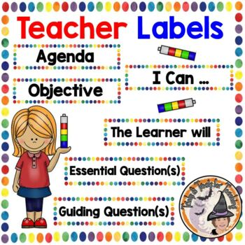 Essential Question Agenda I Can Guiding Questions Labels Board Colorful Dots