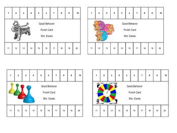 Board game theme Behavior Punch Card