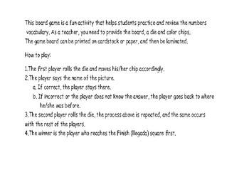 Board games números 1-12 / Numbers 1-12