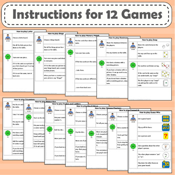 Board games picture instructions and board game template