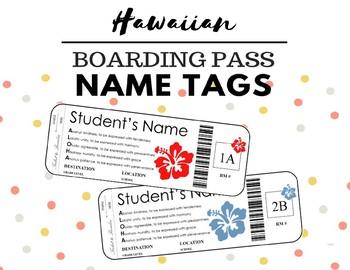 Boarding Pass Hawaii Name Tags