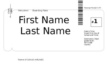 Boarding Pass Name Plate/Nametag