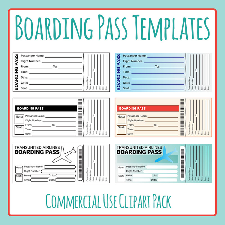 Boarding Pass Templates Clip Art for Commercial Use ...