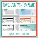 Boarding Pass Templates Clip Art for Commercial Use - Great for Travel Themes