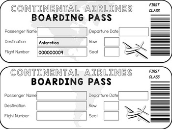 Boarding Pass Template (7 Continents and Blank)