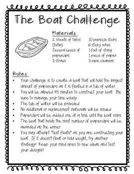 Boat Challenge - STEM Activity