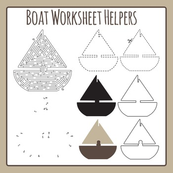 Boat Worksheet Helpers - Maze, Dot to Dot, etc - Commercial Use Clip Art Set