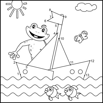 Connect the Dots and Coloring Page with Frog and Boat, Commercial Use Allowed