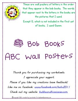 Bob Book ABC  wall posters.