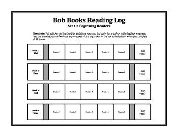 Bob Books Reading Log for Pre-K/Kindergarten
