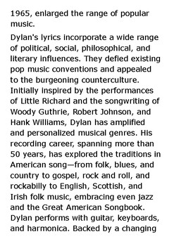 Bob Dylan Handout