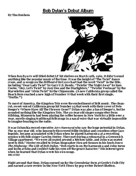 Bob Dylan's Debut Album Article and Summary Assignment