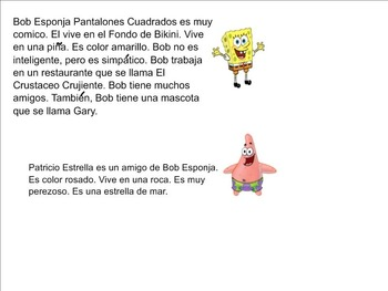 Bob Esponja Sponge Bob Interactive SmartBoard Lesson with Adjectives