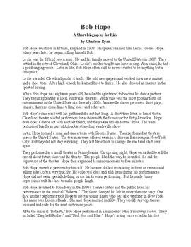 Bob Hope - A Short Biography for Kids