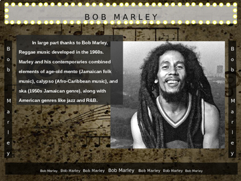 Bob Marley: 25 slides with text, hyperlinks & primary sources (with handouts)