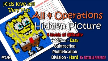 Bob - Mystery Picture - 4 operations - add, sub, multiplication and division