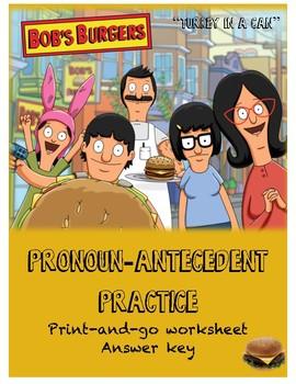 Bob's Burgers Pronoun-Antecedent Practice