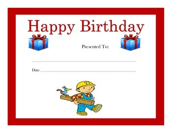 Bob the Builder Birthday Certificates (Includes 4 Certificates)