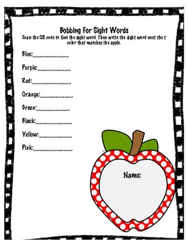 Bobbing For Sight Words