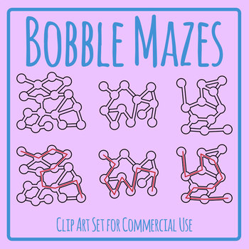 Bobble Mazes with Solutions / Answers Clip Art Set for Commercial Use