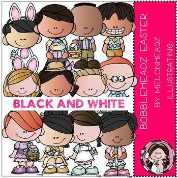 Easter clip art - Bobbleheadz - BLACK AND WHITE- by Melonheadz