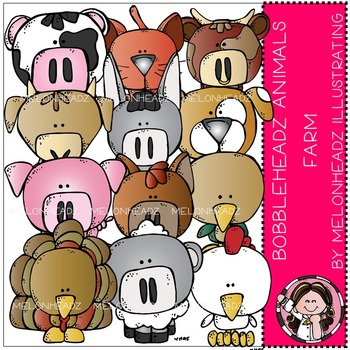 Melonheadz: Farm Animals clip art - Bobbleheadz
