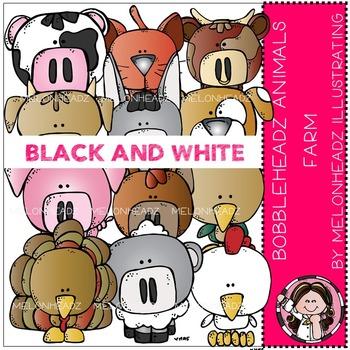 Farm Animals clip art - Bobbleheadz - BLACK AND WHITE- by Melonheadz