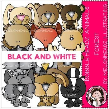 Melonheadz: Forest Animals clip art - Bobbleheadz - BLACK AND WHITE
