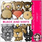 Forest Animals clip art - Bobbleheadz - BLACK AND WHITE- by Melonheadz