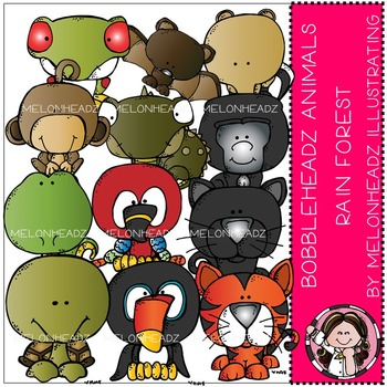 Melonheadz: Rain Forest Animals clip art - Bobbleheadz - COMBO PACK